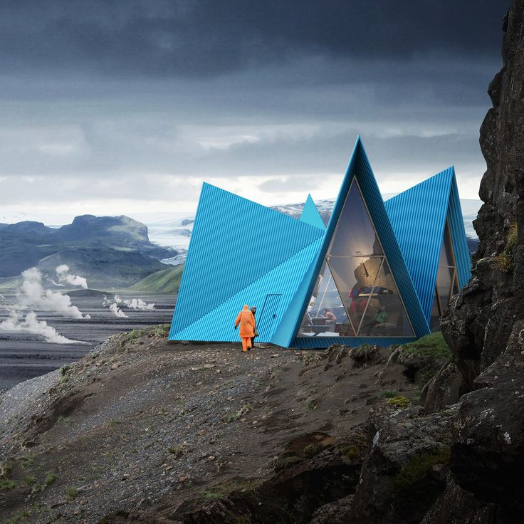 Utopia Arkitekter have designed a gabled cabin from steel and cross-laminated timber to provide a cosy respite for trekkers in the mountains.