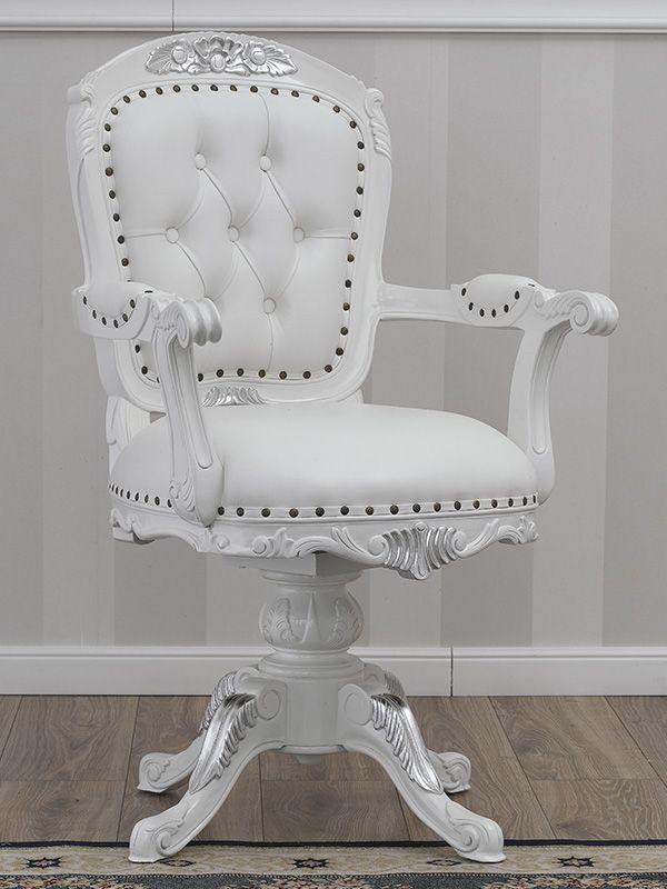 https://shop.simoneguarracino.it/dettagli/800/Poltrona-sedia-girevole-stile-ministeriale-presidenziale-Moderno-bianco-laccato-particolari-foglia-argento-ecopelle-bianca
