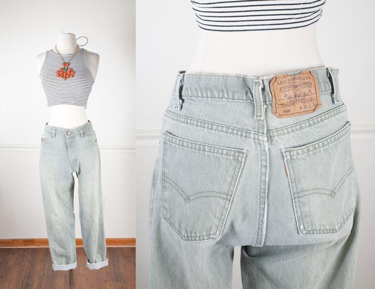 1980s Levi's 550 Jeans / Vintage Levi Jeans / Vintage 80s Jeans / Boyfriend Jeans / High Waisted Jeans / Green Denim / Levi Strauss by BlueHorizonVintage on Etsy #vintage #levi #levis #denim #jeans #relaxed #boyfriend #momjeans #green #etsy #80s #90s #grunge