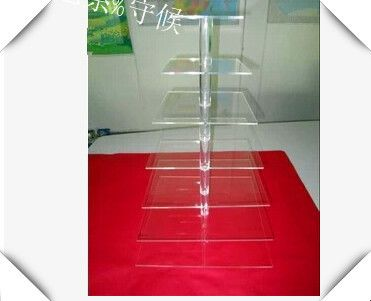 Free shipping Acrylic cake Stand for Wedding Party/Square Acrylic Clear 7 Tier Cupcake Cup Cake Stand Wedding Party