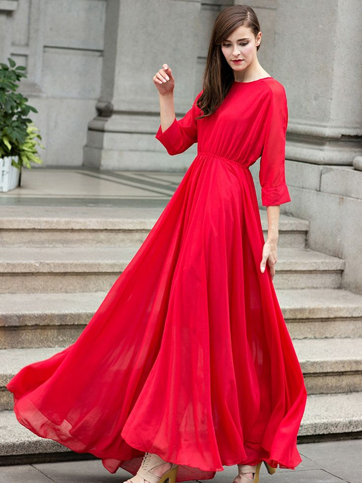 Modest Red Long Sleeve Pleated Empire Dress