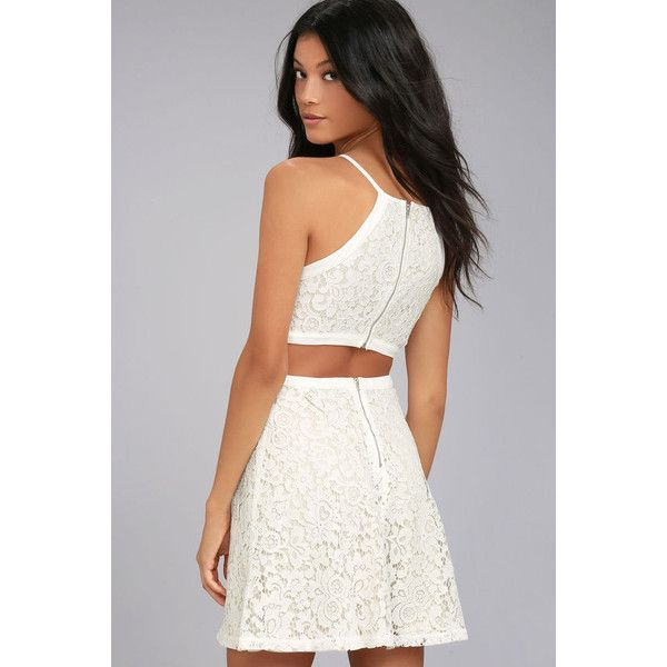 Defying Gravity White Lace Skater Dress ($64) ❤ liked on Polyvore featuring dresses, white, lace overlay dress, lace dress, floral skater skirt, white cut-out dresses and white skater skirt