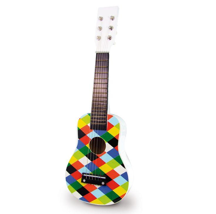 Chitara de lemn lacuit, un produs Vilac foarte frumos! Sunete realiste datorita celor 6 corzi adevarate, din metal si nu din plastic. Varsta- intre 3 si 5 ani Materiale- Lemn Dimensiune- Lungime: 51 cm