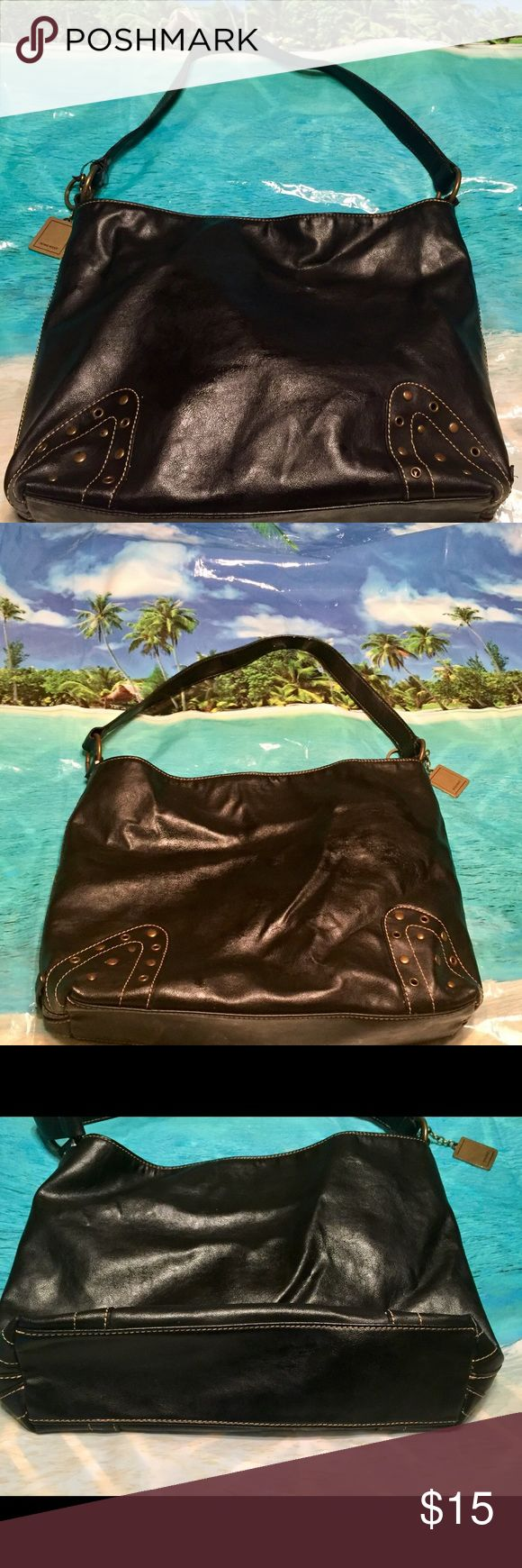 Nine West Purse Light weight black bag with bronze nail heads   on each corner front and back. Original key chain is still attached. Nine West Bags Shoulder Bags