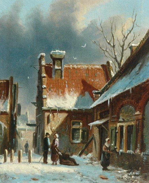 Adrianus Eversen (Amsterdam 1818-1897 Delft) A city's winter view - Dutch Art Gallery Simonis and Buunk Ede, Netherlands.