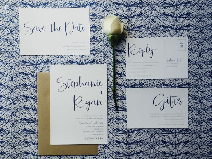 Simple and elegant, this contemporary wedding invitation can compliment a variety of wedding themes.  Pairs perfectly with a kraft envelope.