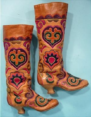"""c. 1910-1920 Rare Tatar Boots (or Chitek or Ichigi Boots) from Eastern Europe. This style was made in the Tatar region of Russia and were traditional footwear dating back at least to the 16th C., but became very popular in Europe (particularly France) sometime in the early teens and '20s when fashions """"a la Russe"""" were in vogue. The boots are stitched with multicolored embroidery on multicolored leather designs."""