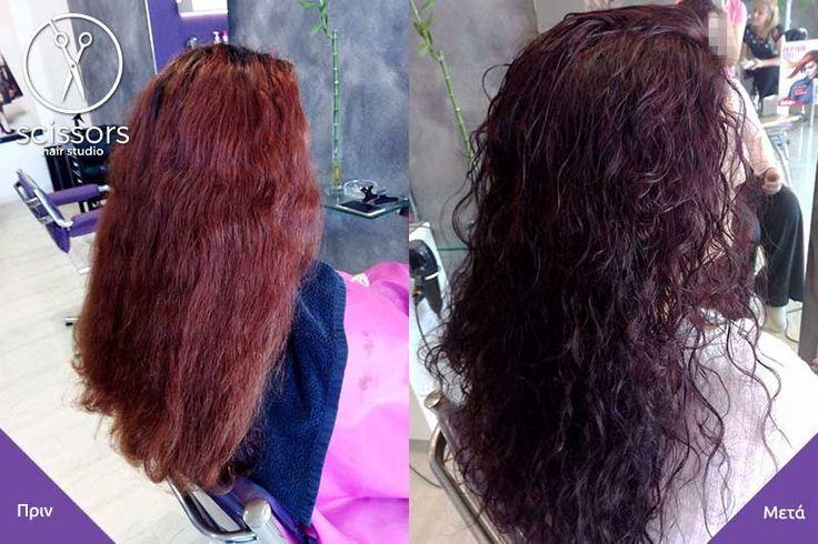 Σε μαλλί με μεγάλη ρίζα και ξεθωριασμένος χρώμα στο ύψος του χάλκινου, το μετατρέψαμε σε σκούρο κόκκινο του μαόνι.#βαφή