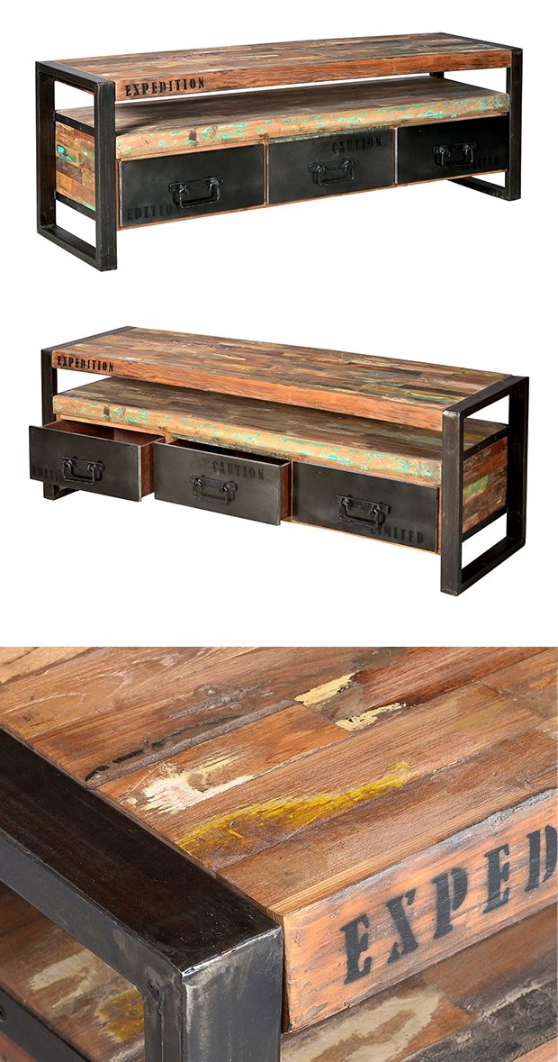 Liven up your contemporary or transitional living space with this Expedition Media Unit. With beautifully distressed, multi-color shelves  and sleek black metal accents, this media center will add some...  Find the Expedition Media Unit, as seen in the An Urban Home for the Holidays Collection at http://dotandbo.com/collections/styleyourseason-an-urban-home-for-the-holidays?utm_source=pinterest&utm_medium=organic&db_sku=114808