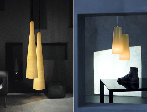 'Tite' Suspension lamp in fiberglass fabric with yellow Kevlar® or black carbon thread. Support in brushed stainless steel.