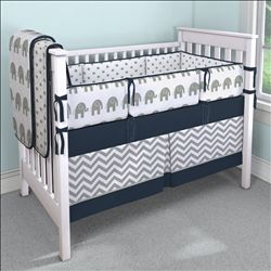 Navy and Gray Elephants Crib Bedding | Carousel Designs