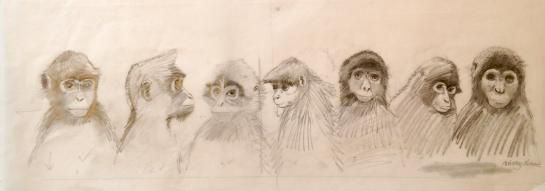 '7 Spider Monkeys'  From 'One Gorilla' published by Walker Books Ltd in 2012 This is a very rough drawing on trace paper. Media used: Pencil crayon      Preliminary Sketch      Unmounted      Dimensions: 580 x 200 mm           £295.00 + VAT=  £354.00      * countries outside of EU do not pay VAT
