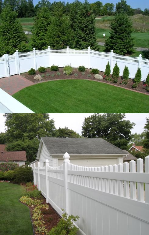 """Superior Privacy Fence: Vinyl tongue and groove privacy fence with scalloped picket top and pyramid caps. Available in 60"""" and 72"""" height options, and standard panel width is 96"""".  Assorted colors offered, including: White, Sandalwood, Adobe, Mocha, Honey Maple and Green Teak."""