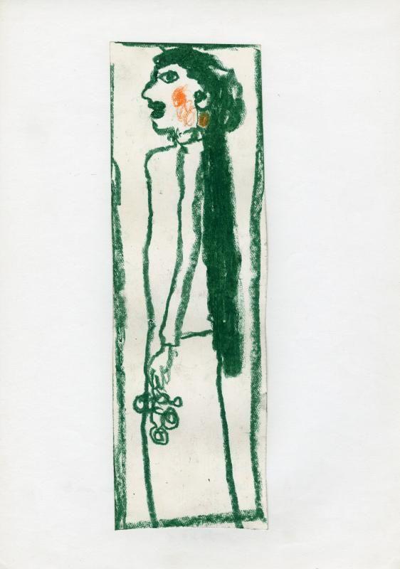 René Moreu, Femme aux cheveux verts, craie, 1982 / ©Musée du Vivant - AgroParisTech