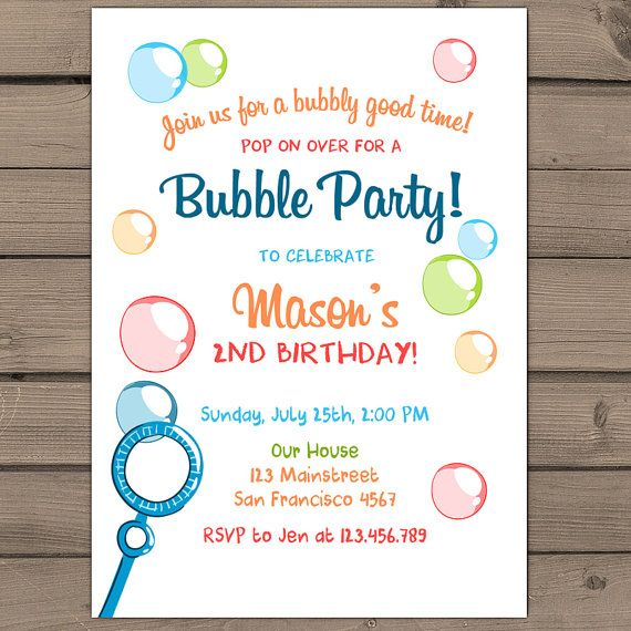 Bubble Birthday Party Invitation Bubble Party by Anietillustration