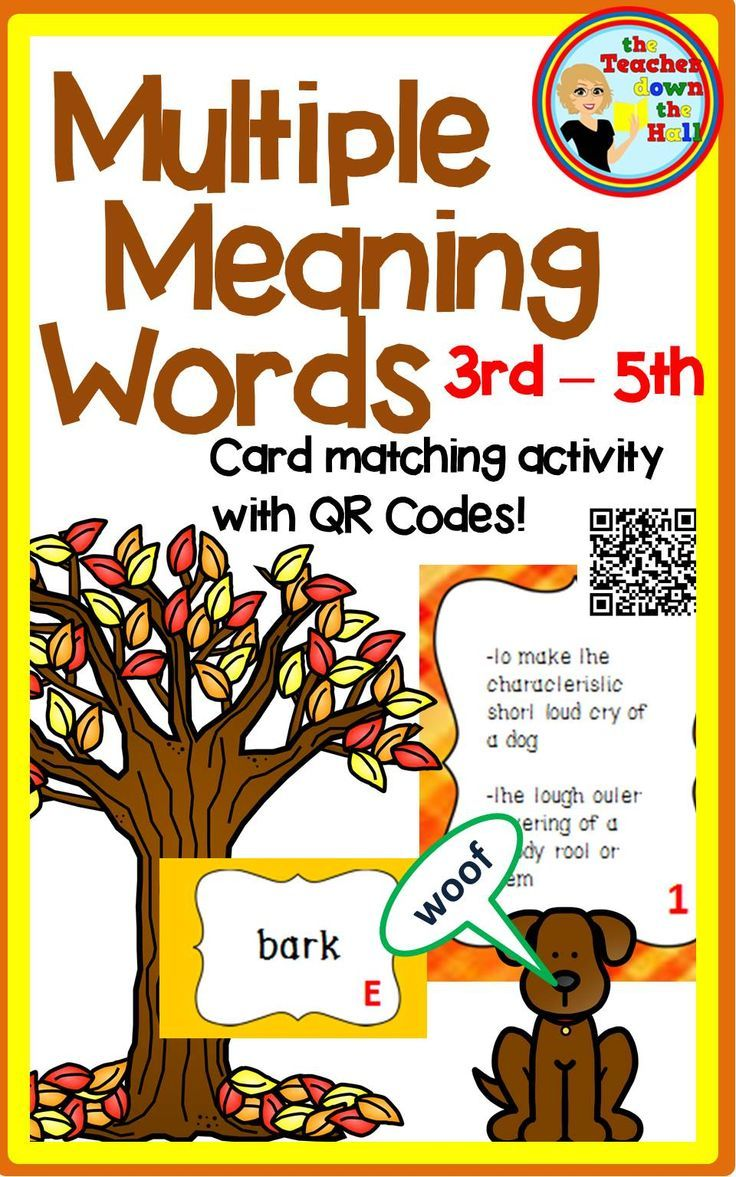 Meaning of fourth - Multiple Meaning Words Task Cards W Qr Codes 3rd 5th