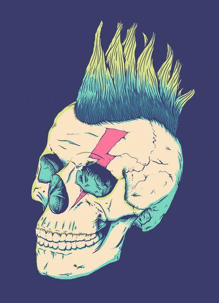 Skull Punk Art Print by Victor Vercesi