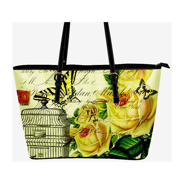 Yellow Roses Purse Bird cage roses purse Yellow Roses handbag Blue... (€47) ❤ liked on Polyvore featuring bags, handbags, tote bags, man bag, blue tote bag, yellow purse, purse tote and hand bags