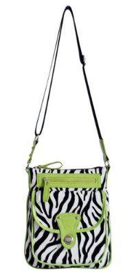 Zebra Soft Stripes Cross Body Adjustable Strap Hipster Bag Small Purse (Green): Price: $27.99