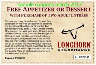 free Longhorn Steakhouse coupons for march 2017