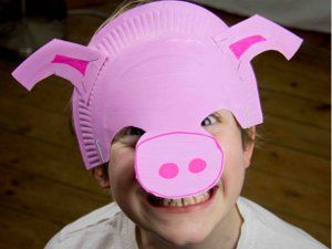 Little Piggy Paper Plate Mask | AllFreeKidsCrafts.com