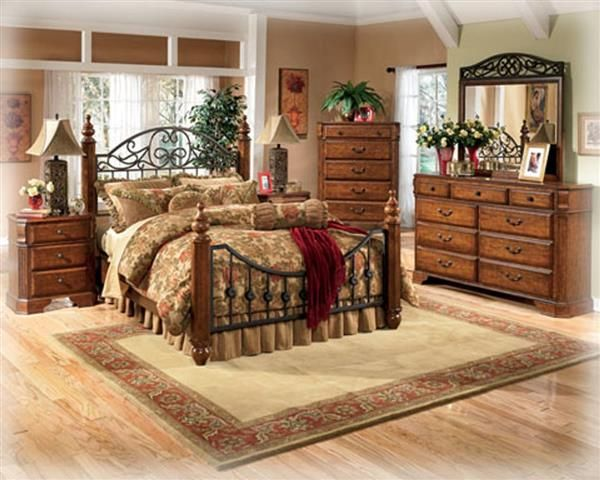 wyatt traditional medium brown cherry wood metal master bedroom set