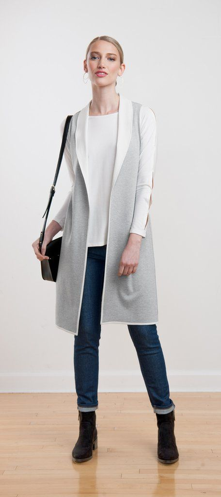 Elegant long open-front ponte vest with contrasting collar and piping