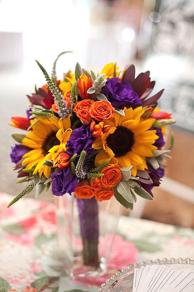 colourful sunflower wedding bouquets 2