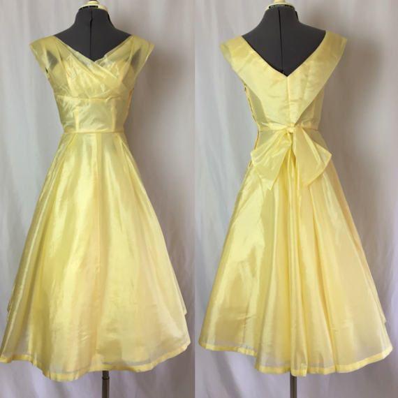 Xxs/xs 1950s PALE YELLOW raw silk Lorrie Deb party dress