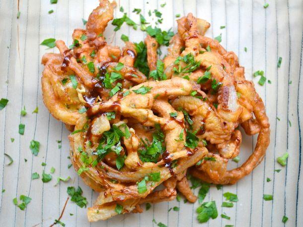 Marmite Onion Fritters via Serious Eats