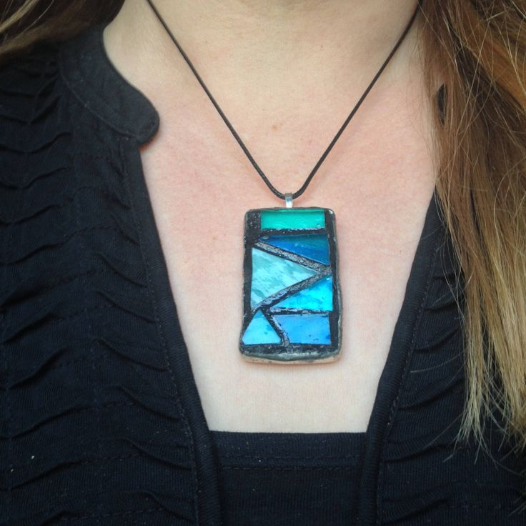Excited to share the latest addition to my #etsy shop: Turquoise Stained Glass Mosaic Pendant - Teal Blue Pendant Wearable Artwork Geometric Turquoise Blue Stained Glass Necklace Mosaic Necklace http://etsy.me/2DAOu7r