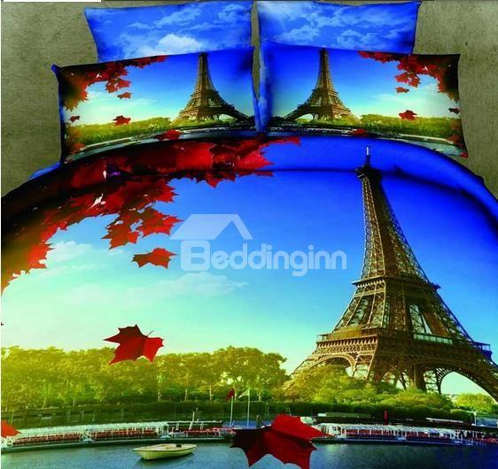 New Arrival 100% Cotton Beautiful Eiffel Tower Print 4 Piece Bedding Sets
