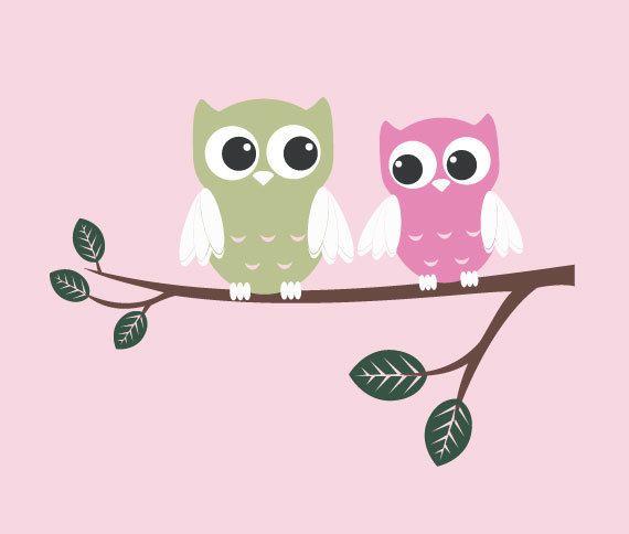 owl wall mural baby | ... Nursery Wall Decor - Baby Boy or Girl - Birds - Vinyl Owl Art Stickers