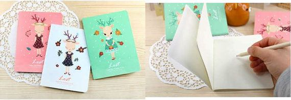 Deer girl notebook by DearCocoSupplies on Etsy