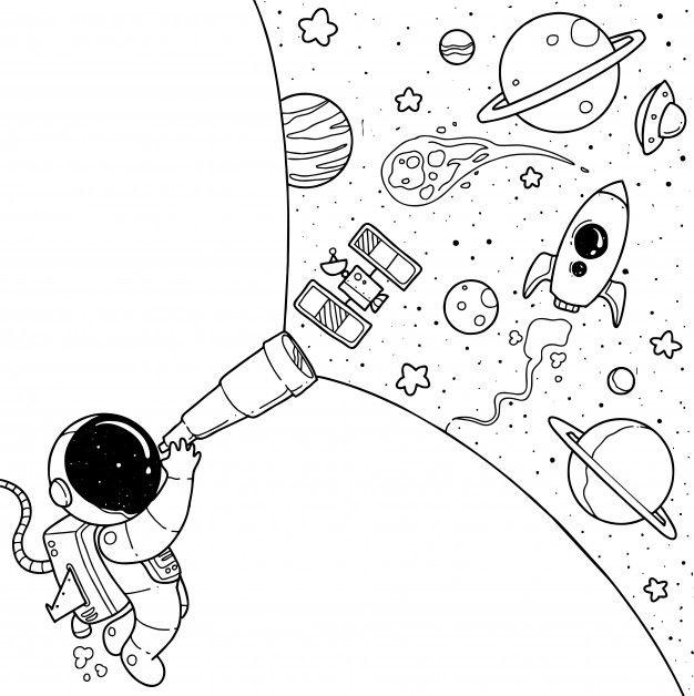 Cute astronaut cartoon Premium Vector