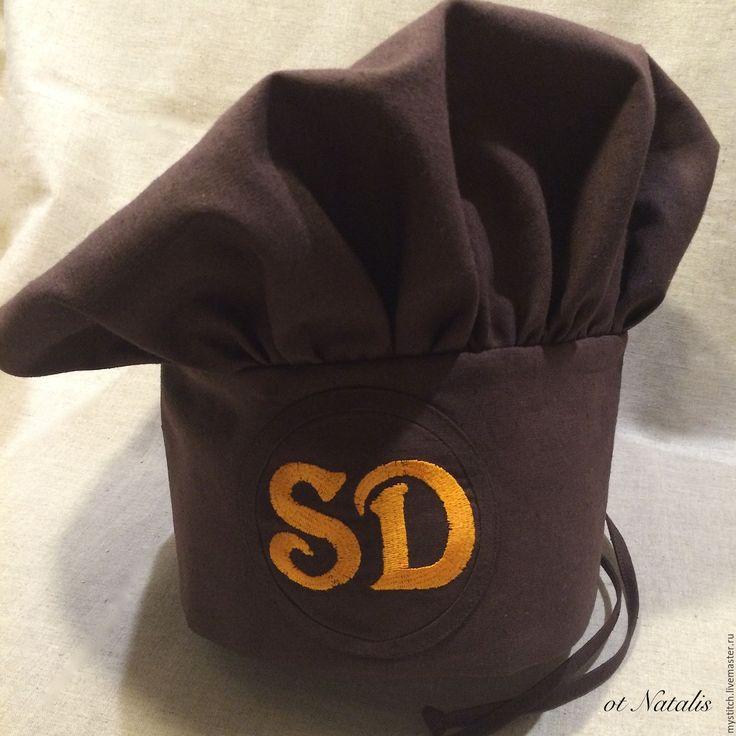 """Купить Поварской колпак из льна с вышивкой """"Мастер Барбекю"""" - коричневый, поварской колпак, одежда для кухни"""