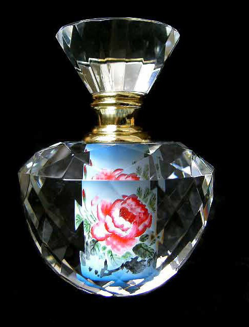 Hand painted crystal perfume bottle round prism art glass for Hand painted glass bottles