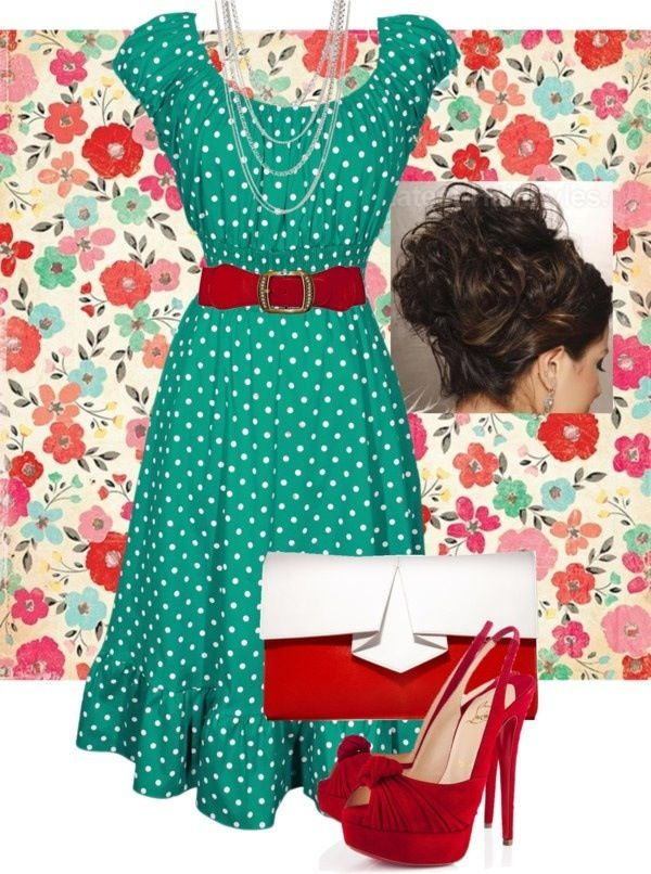 Green polka dot and red pin up style outfit.