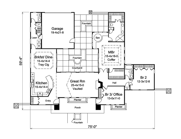 17 best images about courtyard floor plans on pinterest for Rear master bedroom house plans