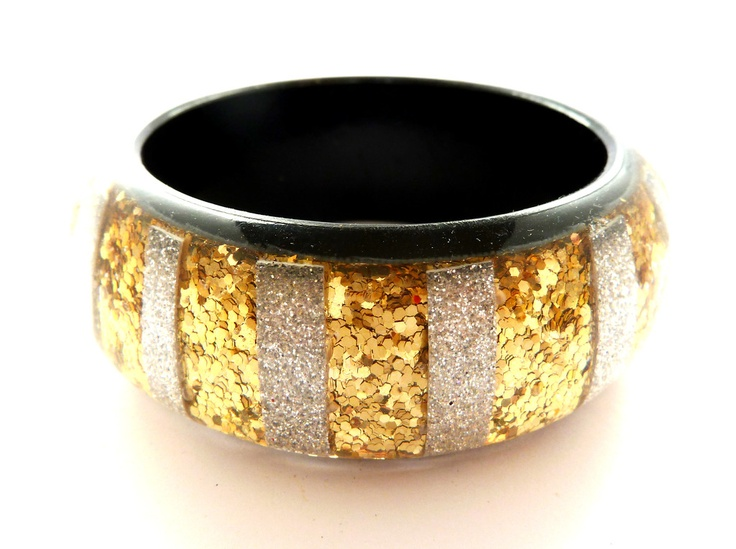 Gold and silver glitter stripe bangle