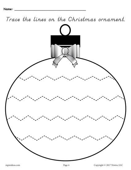 FREE Printable Christmas Ornament Tracing Worksheet With Wide Zig Zag Lines! These 5 tracing worksheets are great for preschoolers and kindergartners. Get all five tracing printables here --> https://www.mpmschoolsupplies.com/ideas/7874/free-printable-christmas-ornament-line-tracing-worksheets/