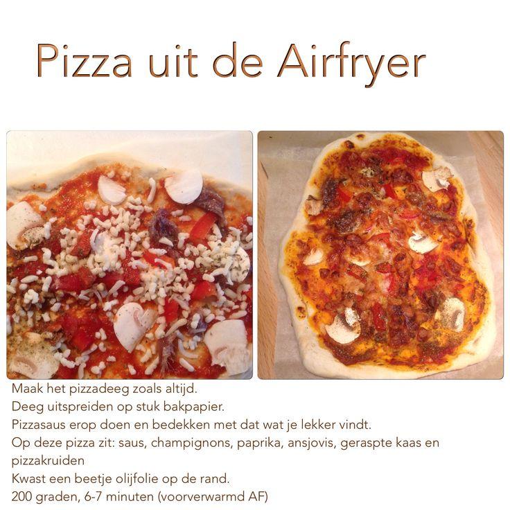 Pizza uit de Airfryer. 200 graden, 6-7 minuten. AK