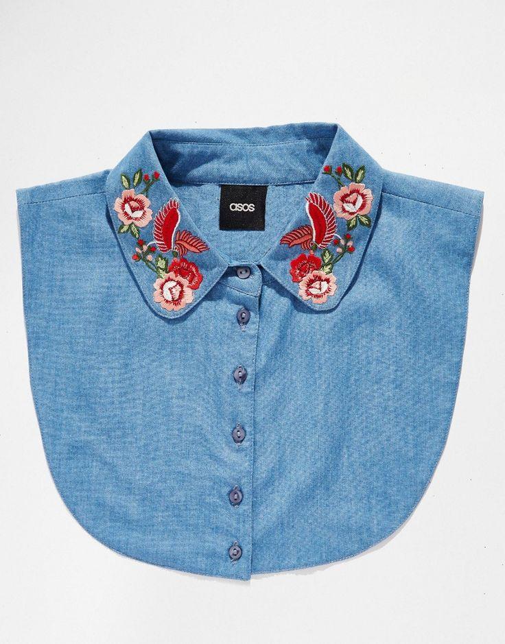 Image 3 - ASOS - Plastron en jean avec col brodé