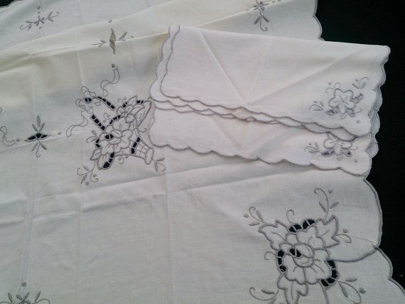 Small Square Embroidered Vintage Ivory Linen Tablecloth with 4 Matching Napkins. Grey Cutwork Embroidery Tablecloth and Napkins RBT0547