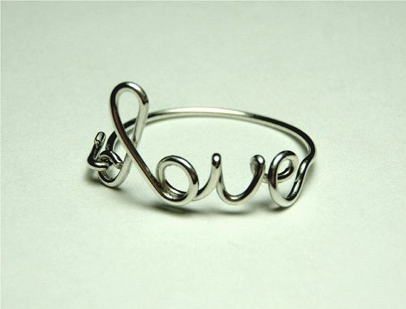 sterling silver love ring  love script ring Special by keoops8, $10,00