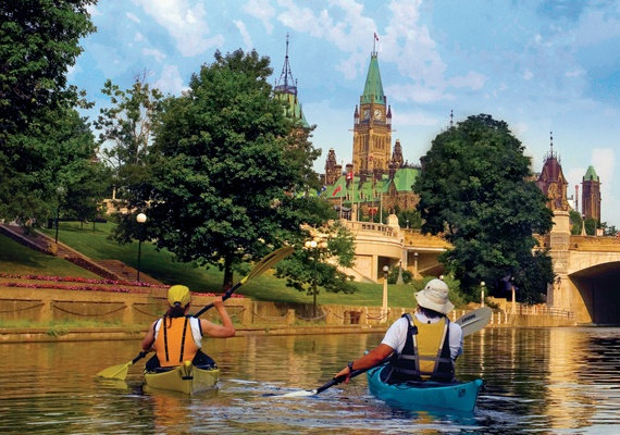 Kayaking on the Rideau Canal.