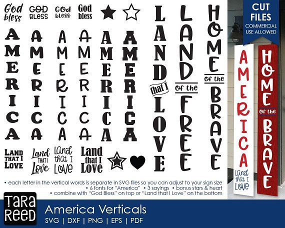 America Vertical Signs Patriotic Svg Files For Crafters Patriotic Sign Porch Signs America Sign