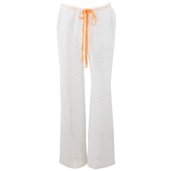 Crochet Lace Oversized Beach Pants (825 RUB) ❤ liked on Polyvore featuring pants, white, white beach pants, white pants, crochet lace pants, beach pants and white trousers