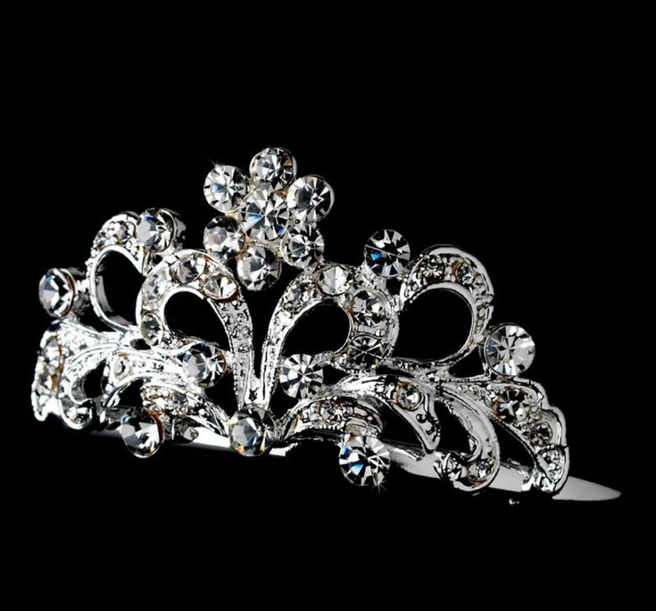 Abby Silver Crystal Flower Flowergirl Child Headpiece Tiara