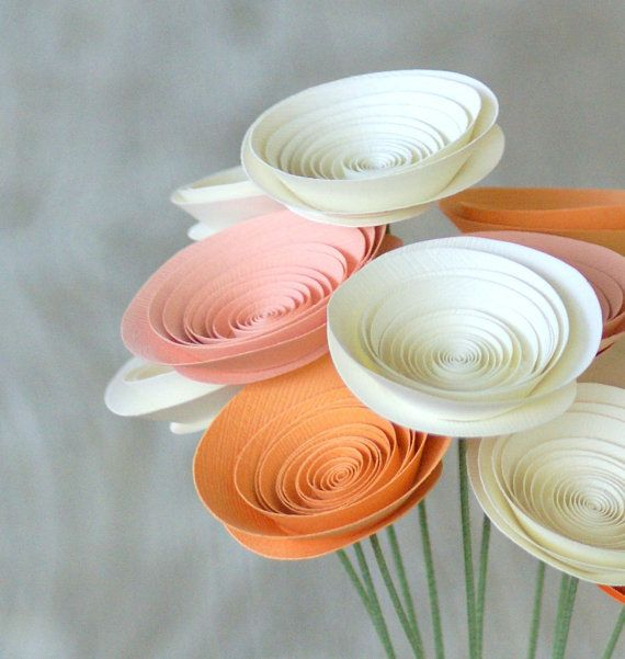 Peaches & Cream Paper Flowers in medium-size Paper Flowers | Q is for Quilling | Pinterest | Paper Flowers, Paper flowers diy and Paper